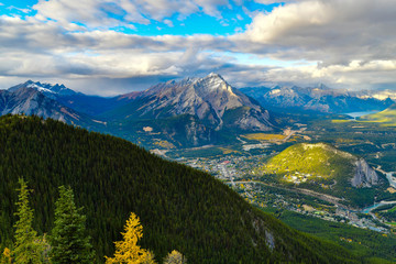 Wall Mural - View over the town of Banff and the Canadian Rockies seen from Sulphur Mountain.Canada