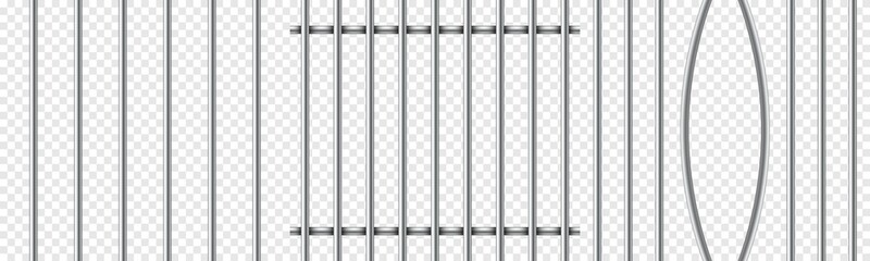 Set of realistic prison metal bars isolated on transparent background. Iron jail cage. Prison fence jail. Template design for criminal or sentence.