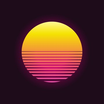 Retro sunset in 80`s style. Retrowave, synthwave futuristic background. Template design for cyber or sci-fi abstract concept.