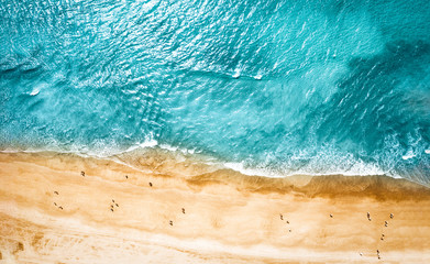 Spoed Foto op Canvas Strand Aerial photo of summer beach and blue ocean with sky.