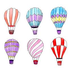 Watercolor hot air balloons set