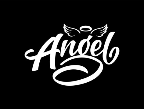 "Vector lettering illustration of ""Angel"" with wings and nimbus text for clothes. Lucky for badge, tag, icon, print. Inspirational quote. Calligraphic background. Celebration typography poster."