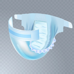 Baby diaper isolated on transparent background. Realistic vector illustration for diapers packs, and other babies production.