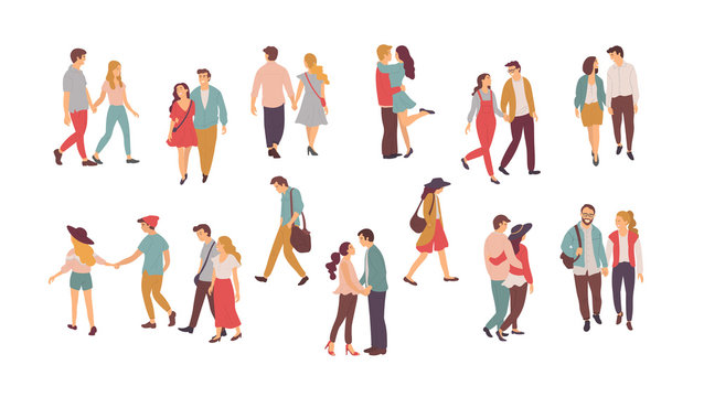 Family vector, people walking in pairs, holding hands of each other. Happy romantic couples, hugs and embraces, lonely woman and lone man with sad faces