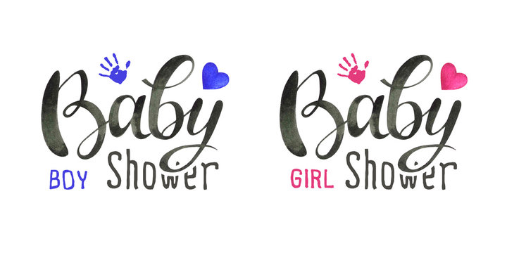 Hand written watercolor text for newborn baby shower party isolated on white background.Boy & girl lettering