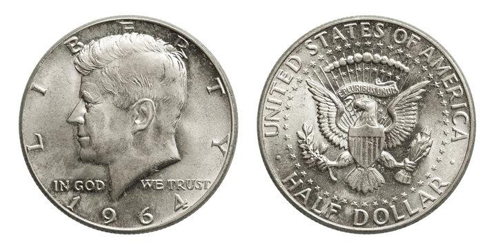 US silver coin half dollar Kennedy 1964