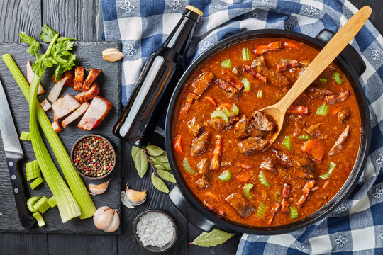 irish beef and beer stew, top view