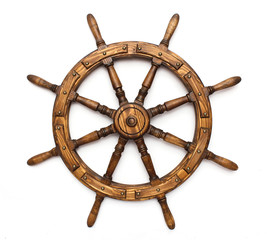 Door stickers Ship Steering hand wheel ship on white background