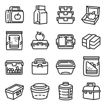 Lunchbox icons set. Outline set of lunchbox vector icons for web design isolated on white background