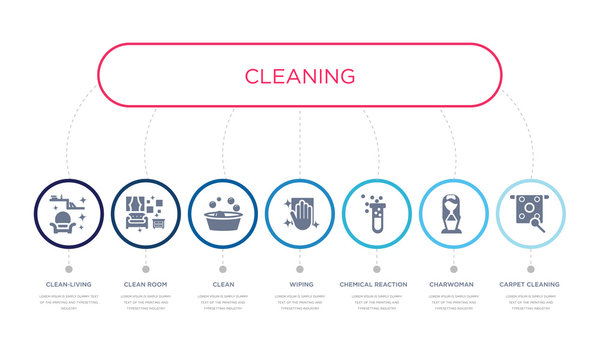 simple illustration set of 7 vector blue icons such as carpet cleaning, charwoman, chemical reaction, _icon4, clean, clean room, clean-living. infographic design with 7 icons pack