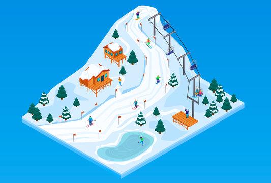 Ski resort concept background. Isometric illustration of ski resort vector concept background for web design