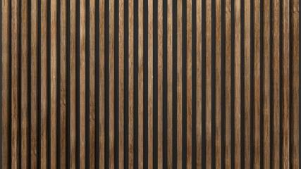 Elegant background of wooden slats over dark wall. Oak sheets.