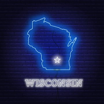Neon map State of Wisconsin on a brick wall background.