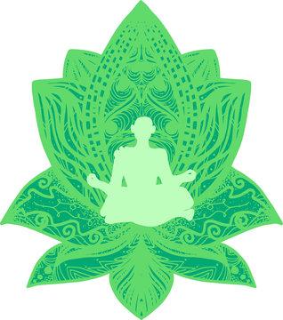 Fitness, yogi flat silhouette