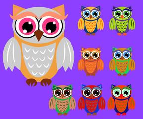 Canvas Prints Owls cartoon Cute cartoon owls set for baby showers, birthdays and invitation designs