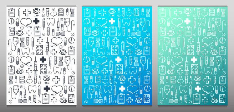Set of Medical hand-draw doodle backgrounds. Pills, Vitamin tablets, medical drug. Vector Illustration.