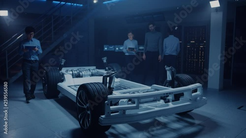 Automobile Engineers Working on Electric Car Platform Chassis