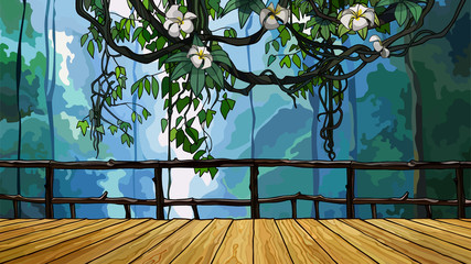 cartoon wooden bridge in the jungle with creeper branches
