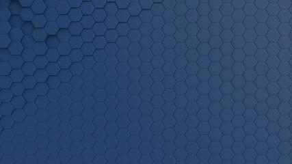 Fotobehang - Hexagonal dark blue background texture. 3d illustration, 3d rendering
