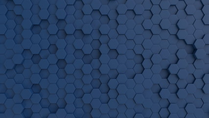 Hexagonal dark blue background texture. 3d illustration, 3d rendering