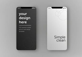 2 Smartphone Screens Mockup