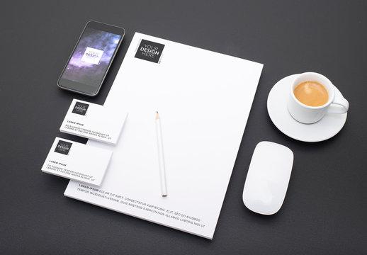Corporate Identity Mockup on Black Table