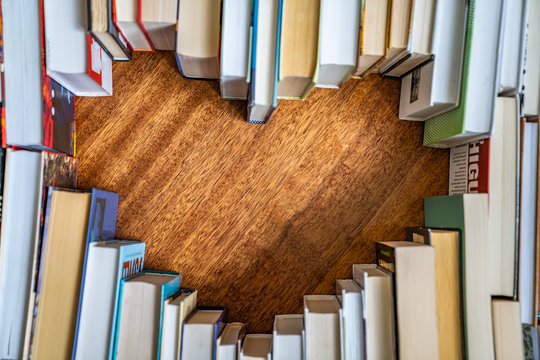 Heart shape from books. Love reading concept.