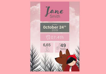 Baby Birth Announcement Layout with Girl in Red Hood and Wolf