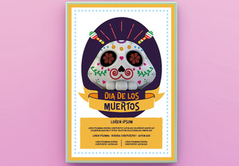 Day of the Dead Themed Party Poster Layout