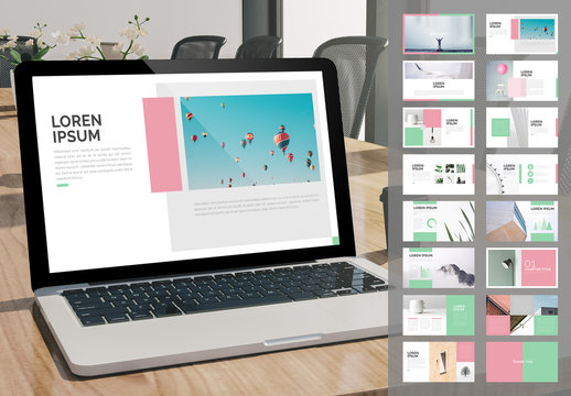 Minimalist Screen Presentation Layout with Pink and Mint Accents