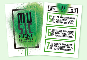 Event Flyer Layout with Green Spray Paint Elements