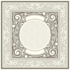 Vintage decorative ornate monochrome design