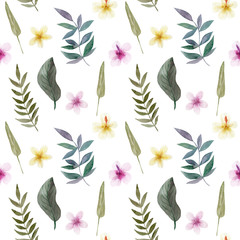 Seamless Pattern of hand drawn watercolor delicate flowers and leaves. Design for wedding invitation, fabric, packaging, textile, cover, postcard, paper, greeting cards, blog. Green cute wildflowers.