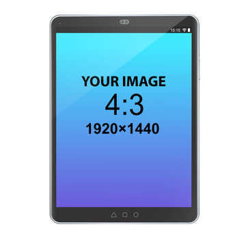 Black unbranded vertically oriented 4:3 tablet, front view, photorealistic vector mockup.