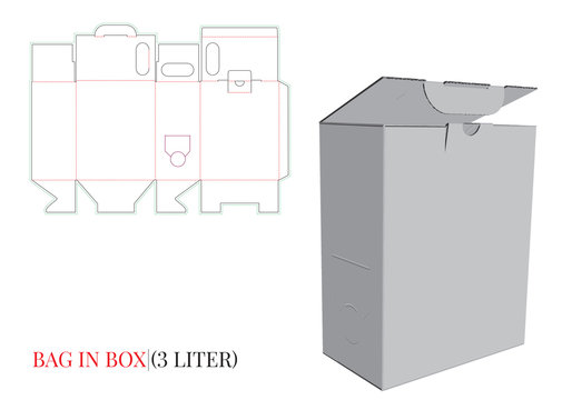 Bag in Box Template, Vector with die cut / laser cut layers. Wine Box (3liter), Cardboard Box. White, blank, empty, isolated Box mock up on white background, perspective view. Packaging Design, 3D