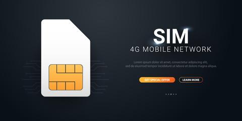 Mobile Sim Card. Mobile Network. Technology Concept. Vector illustration.