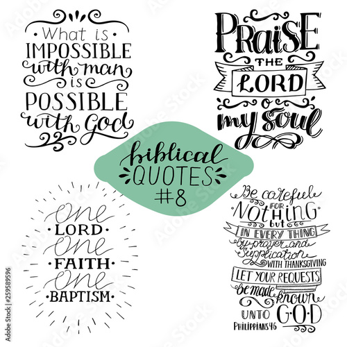 Collection 4 with 4 Bible verses  Praise the Lord  Possible with God