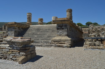 Isis Temple In Roman City Baelo Claudia Dating In The 2nd Century BC .. Stock Photo, Picture And Royalty Free Image. Nature, Architecture, History, Archeology. July 10, 2014. Tarifa, Cadiz, Spain