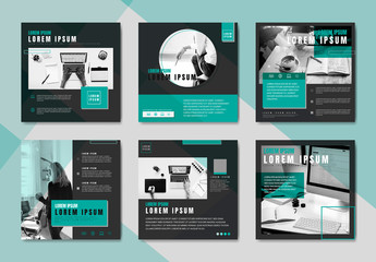 Social Media Post Layouts with Teal and Gray Accents