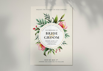 Wedding Invitation Layout with Watercolor Floral Elements