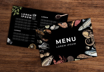 Dark Menu Layout with Seafood Illustrations