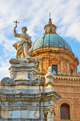 Wall Mural - Palermo Cathedral with Santa Rosalia statue