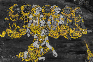 The Ramakien (Ramayana) mural paintings along the galleries of the Temple of the Emerald Buddha, grand palace or wat phra kaew Bangkok Thailand