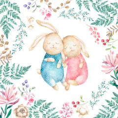 Two cute Rabbits and cotton. Watercolor Easter art print. Hand drawn illustration. Beauty cartoon bunny with flowers and floral, greeting card, birthday, invite on white background