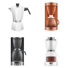 Coffee maker icons set. Realistic set of coffee maker vector icons for web design isolated on white background