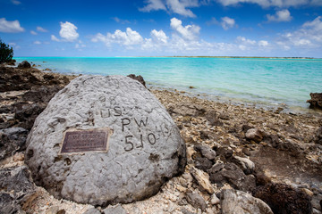 Wake Atoll, part of Pacific Remote Islands Marine National Monument. 98 Rock, a place where prisoners of war during World War II carved an enduring symbol.