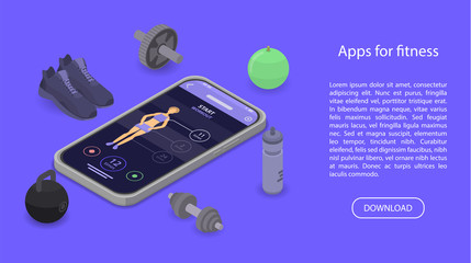 Apps for fitness concept banner. Isometric illustration of apps for fitness vector concept banner for web design