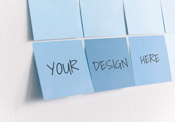 Blue Sticky Notes on a White Wall Mockup
