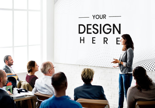 8 People in a Meeting with a Whiteboard Mockup
