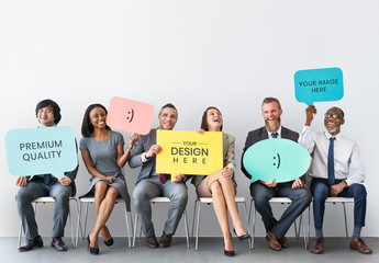 6 People Holding Speech Bubble Placards Mockup
